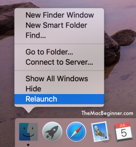 Finder Relaunch to Set default Size