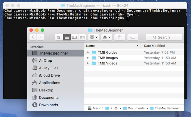 Open current folder in Finder From Terminal