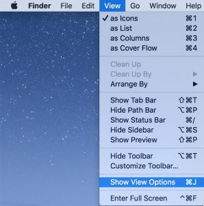 Show View Options Finder Calculate Size