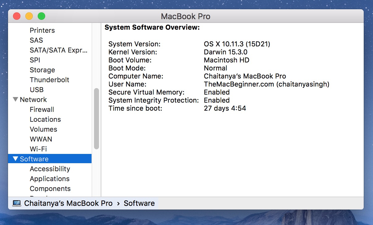 System information software time since boot