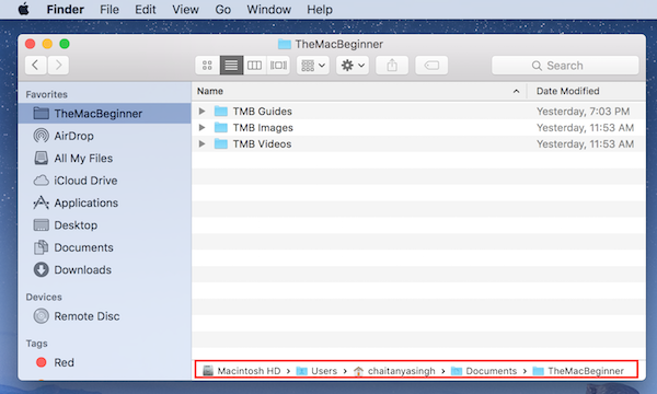 current path bar at the bottom of finder window